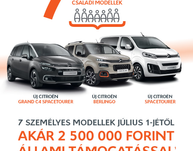 Citroën 7 személyes családi modellek most 2,5 millió Ft állami támogatással